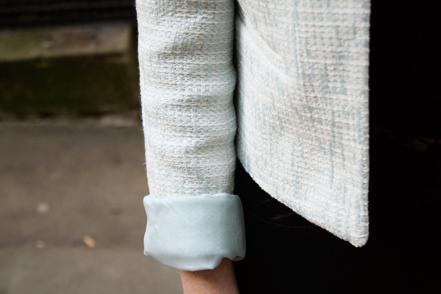 A close up of Cropped Blazer from New Look