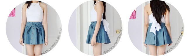 Front, side, and back views of the denim waist bow skater skirt from Yumart, a shop selling cute Asian fashion from brands like Tokyo Fashion.