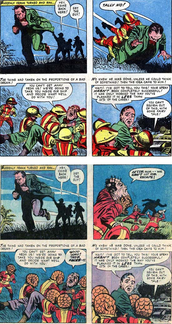 Marvel Tales 138 panels: alien little men capture man; WWT 2 panels: same, but little men take off masks to reveal scaly faces