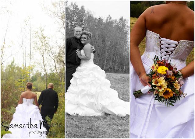 bride holds flowers behind her back