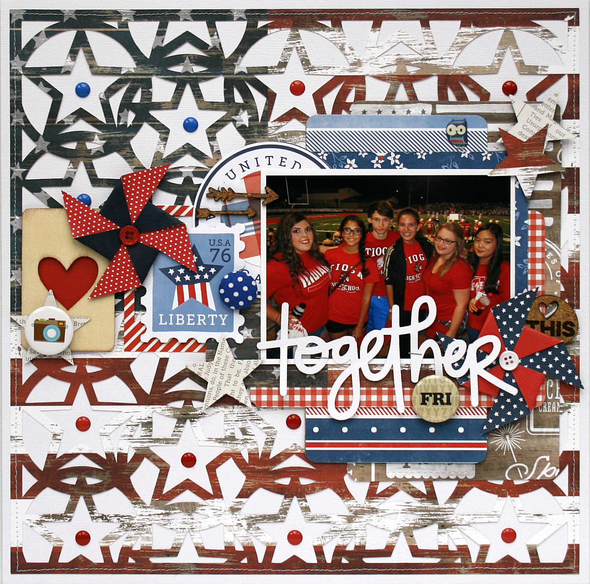 Together Scrapbook Page by Monique Liedtke featuring 17turtles Digital Cut Files Star Power and Grateful Fall