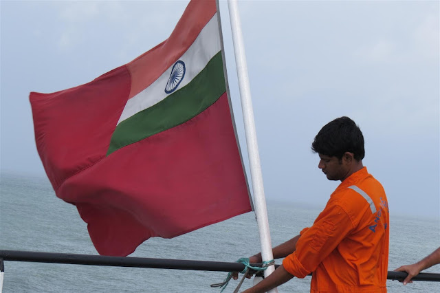 Flag of India on the deck of the Ship