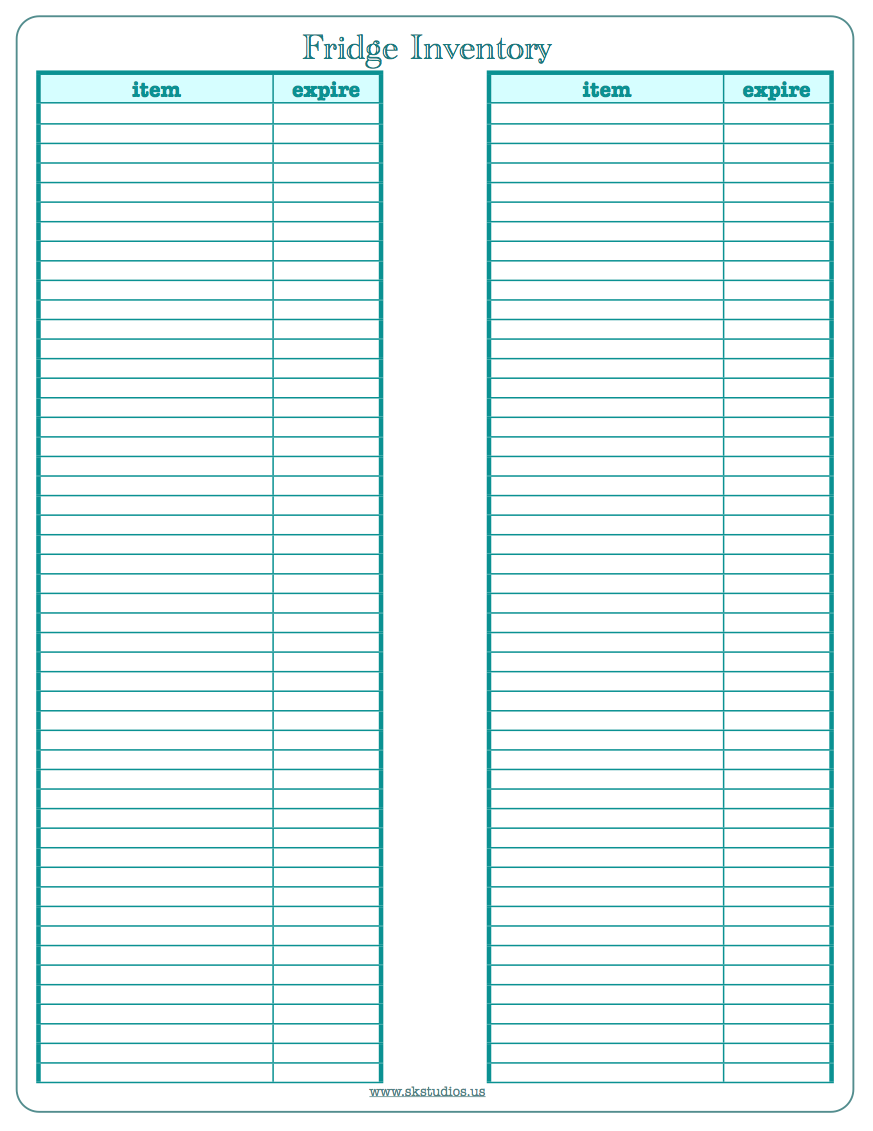 blank inventory sheet template – Inventory Log Sheet