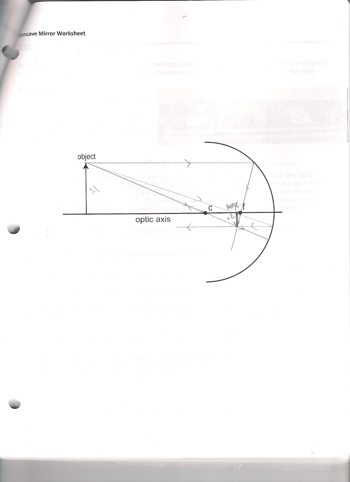 Physics 4c wyu experiment 9 concave and convex mirrors ray diagram pooptronica Choice Image