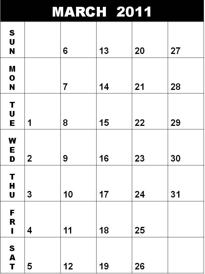 blank march 2011 printable calendar. hair Blank Calendar 2011 March
