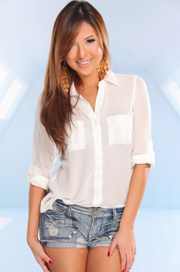 WHITE SHEER BUTTON UP CUFF UP SLEEVE BLOUSE