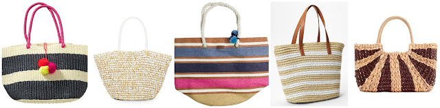 Old Navy Straw Tote $19.97 (regular $29.94)  Saks Fifth Avenue Metallic Straw Tote $19.99 (regular $77.00)   Roxy Sun Seeker Straw Beach Tote $27.62 (regular $39.45) more colors  Gap Striped Straw Tote $31.99 (regular $44.95)  Straw Studios Water Hyacinth Straw Structured Tote $53.99 (regular $78.00)