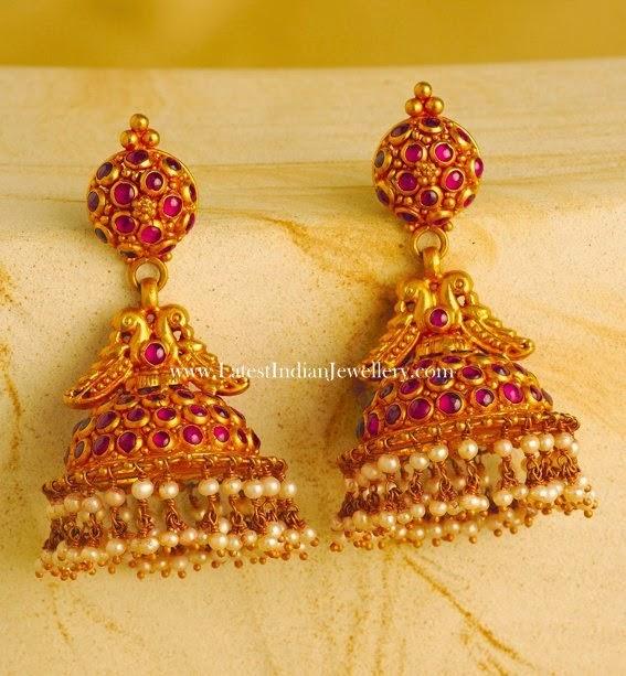 Ruby Jhumka Earrings in Gold