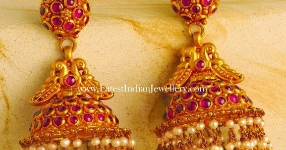 Ruby Jhumka Earrings In Gold