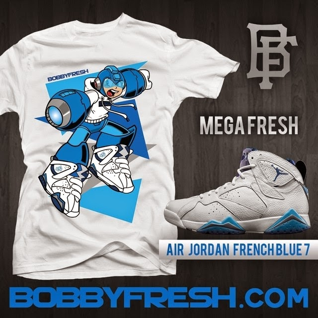 """Mega Fresh"" Mega Man x Air Jordan French Blue 7 Sneakers T-Shirt by Bobby Fresh"
