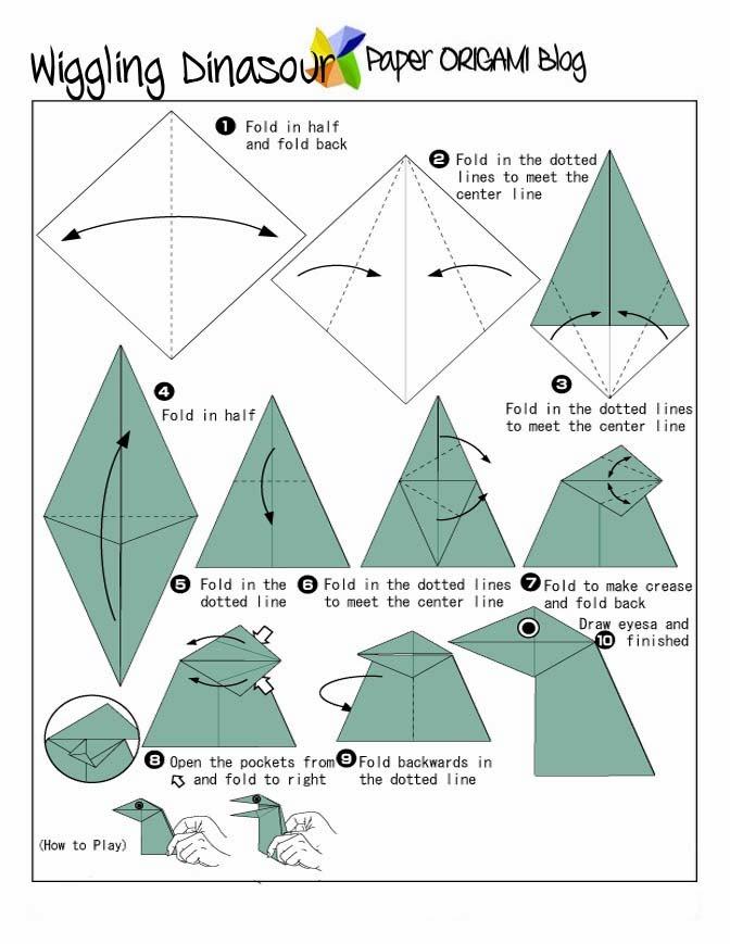Как сделать из бумаги динозавры оригами