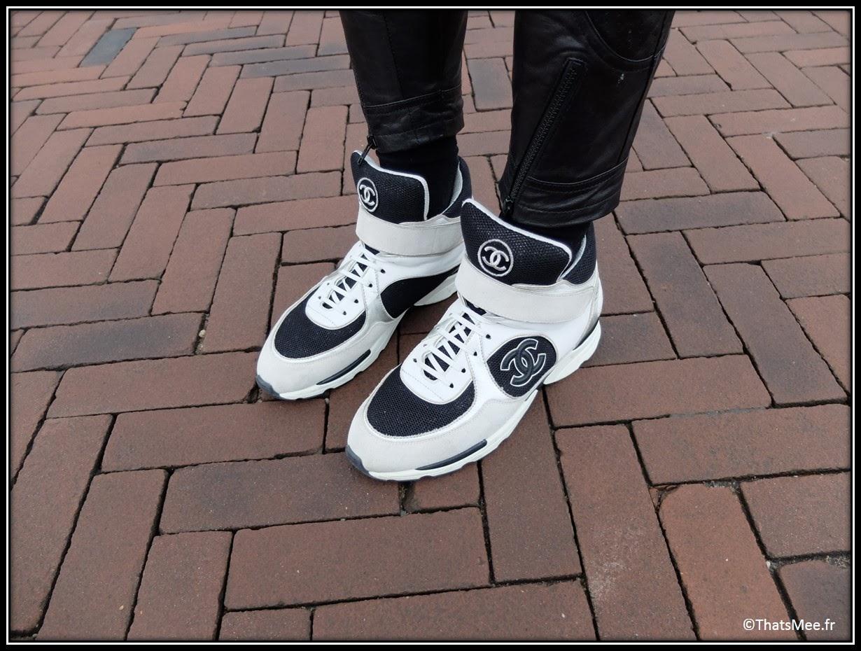 sneakers noir et blanc montantes Chanel Hommes