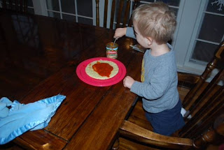 cooking with kids, toddler making his own food, fun alternative to eating out