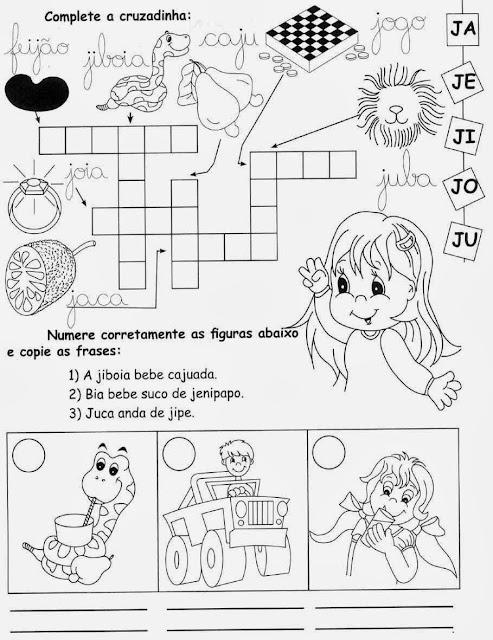 jiboia,Atividades com a letra J.Ensino Fundamental, Atividades para imprimir, Alfabetização, Letras, 1º ano.