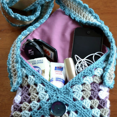 free crochet pattern granny square bag