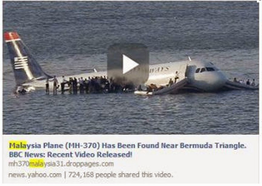 Fake Story on Facebook claiming the missing Malaysia Airlines MH370 flight has been found in Bermuda Triangle