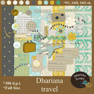"Free scrapbook kit ""Travel"" from Dhariana Scraps"