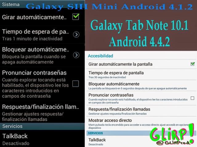 Pantallazos de telefono Galaxy SIII Mini y tablet GalaxyTab Note 10.1 con android