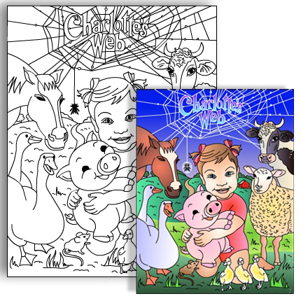Nicoles party coloring pages CHARLOTTES WEB Personalized