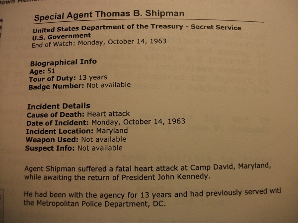 SA Thomas B Shipman, one of JFK's driver agents, dies 10/14/63 of a heart attack at Camp David...