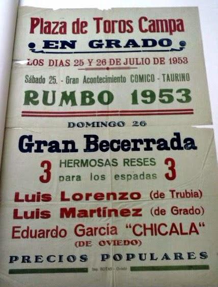CARTEL DE TOROS EN gRADO ASTURIAS 1953