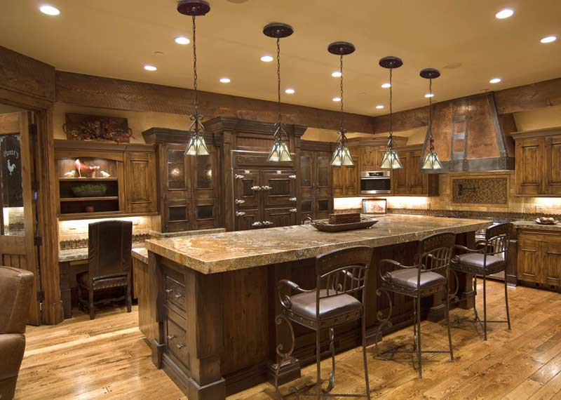 Kitchen lighting system classic elegance for Rustic kitchen designs