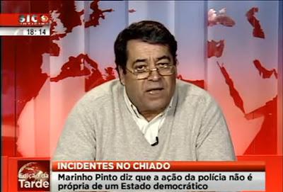 Agência Lusa, Marinho Pinto acusa a polícia de continuar com tiques da ditadura, programa Opinião Pública, SIC Notícias, Marinho Pinto disse que a PSP não pode agir desta maneira