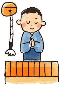初詣・お参りのイラスト(お正月)