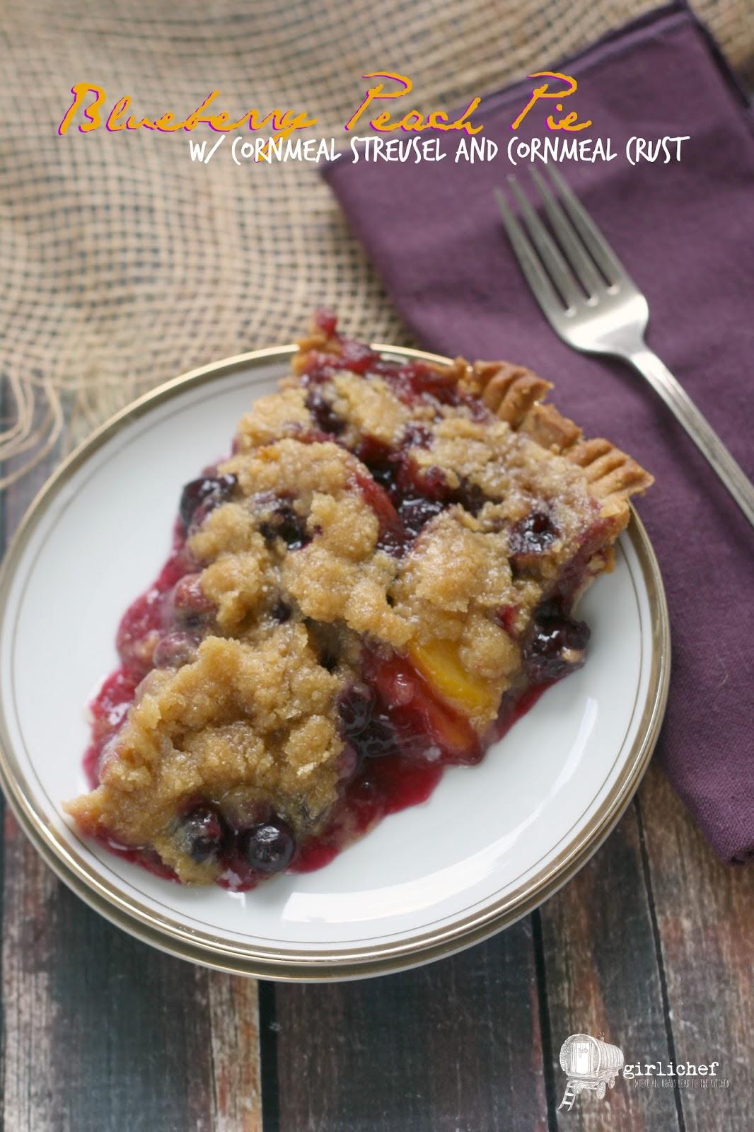 Blueberry Peach Pie w/ Cornmeal Streusel and Crust #FridayPieDay