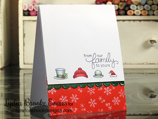 Holiday Hats Christmas card by Lydia Brooke for Newton's Nook Designs - Flaky Family Snowman Stamp Set