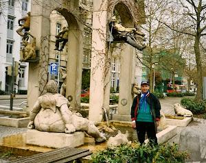 有趣的街头雕塑。在名城Konstanz。