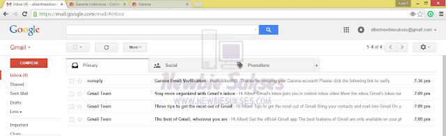 Setelah membuka email anda liat pada gambar dibawah ada sebuah email masuk dari Garena dan klik email itu. Tampilan