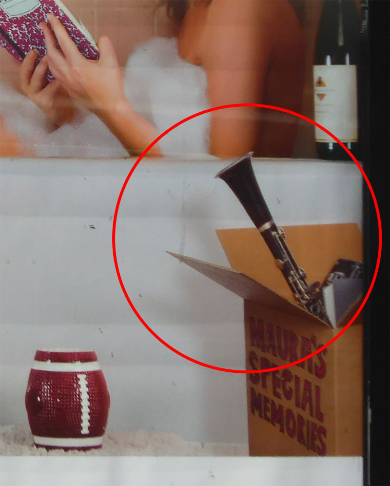 Close up of clarinet sticking out a box in the movie Sisters