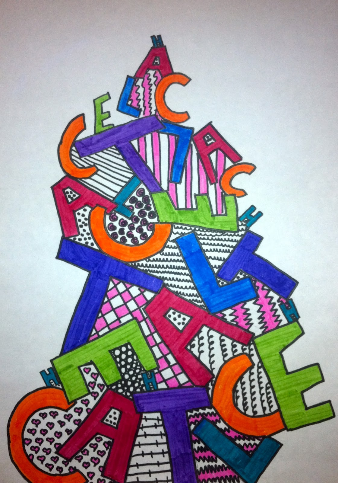 Expression of Imagination: Name Towers by 6th grade