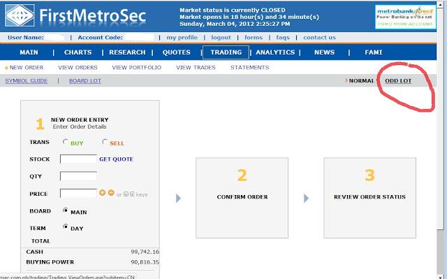 Firdt Metro Odd Lot order