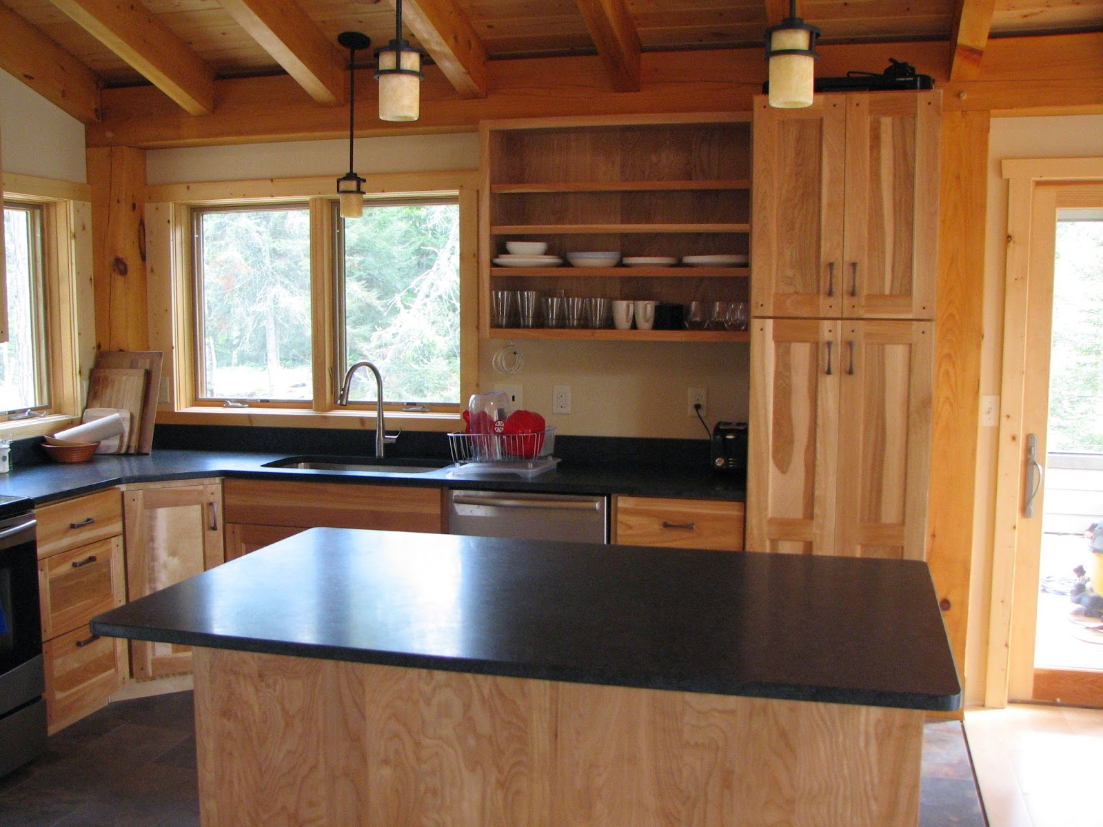 honed, mesabi, black, granite, red birch, cabinets, timber, frame, huismanconcepts
