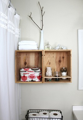 Ideas for bathroom decoration with crates and pallets