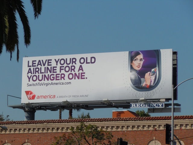 Virgin America younger airline billboard