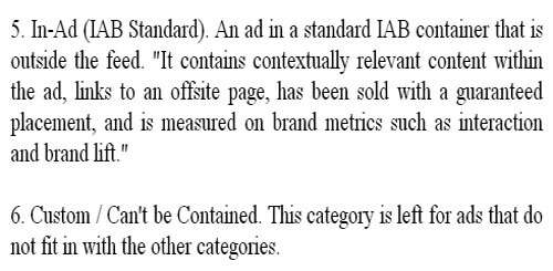 6 categories of native advertisements by IAB (The Interactive Advertising Bureau)