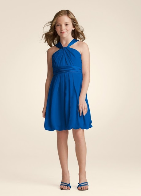 Flower Girl Dresses -  David's Bridal Bridesmaid Dresses Bubble Hem Crinkle Chiffon and Charmeuse Dress