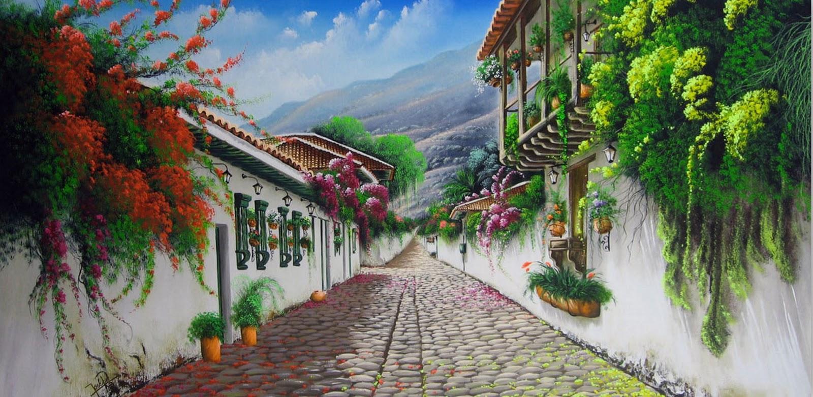 Im genes arte pinturas paisajes campestres jos ra l for Pinturas bonitas para casas
