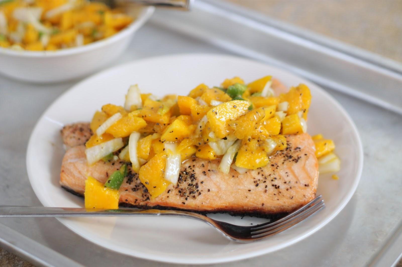 Brunch N' Cupcakes: {Grilled Salmon with Orange Mango Salsa}