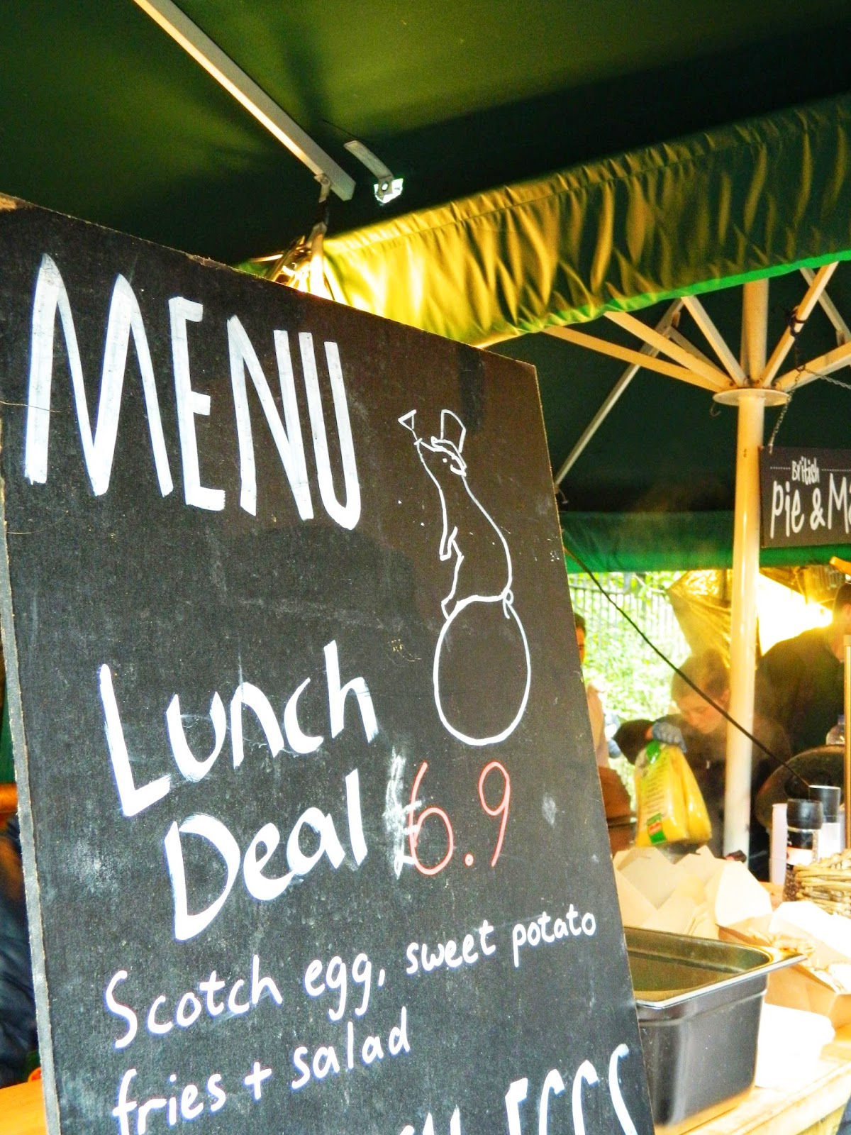 borough market chalk board menu lunch scotch egg sweet potato fires