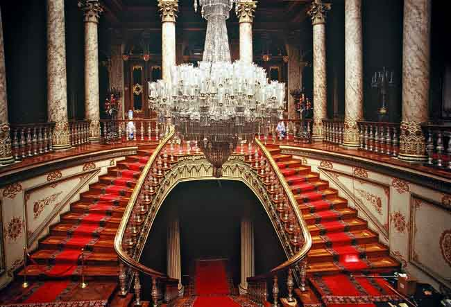 dolmabahce palace istanbul turkey interior crystal chandeliers and staircase