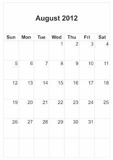 blank calendar august 2012