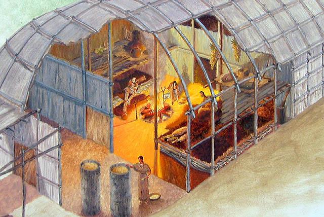 Habitatio n pi irok z hossz h z iroquois longhouse for How long to build a house