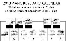 Piano Keys 2013 Calendar