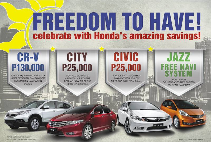 Honda 39 a amazing discounts and freebies carguide ph philippine car Freedom motors reviews
