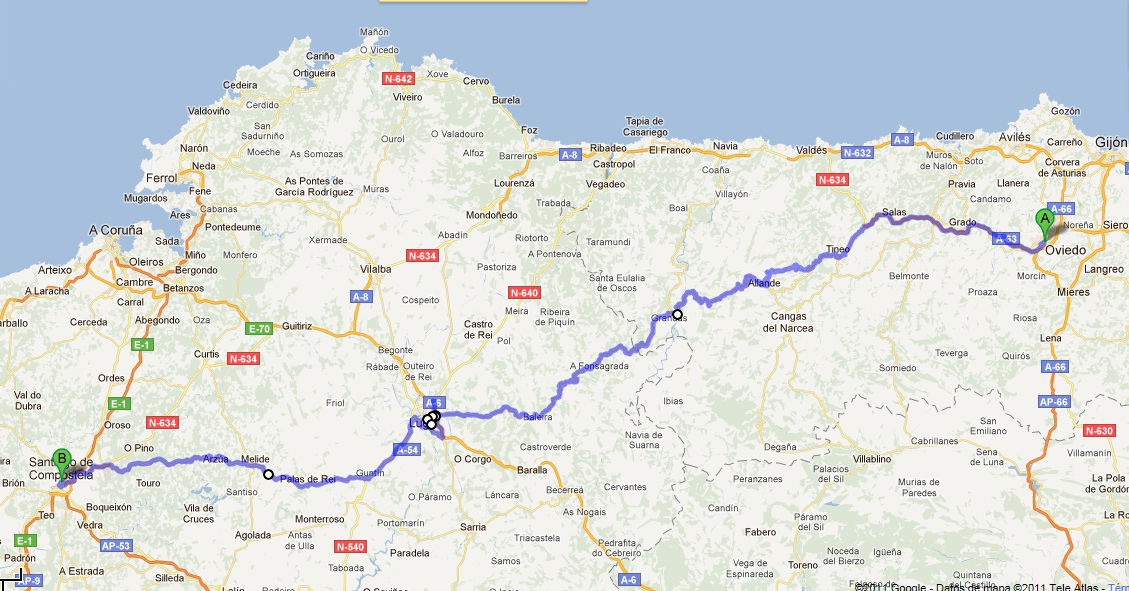 map of camino de santiago with Video Camino Primitivo 2010 on El Camino De Santiago furthermore EuroVelo in addition About P lona Navarra furthermore 1F7 also Tramos descripcion general.