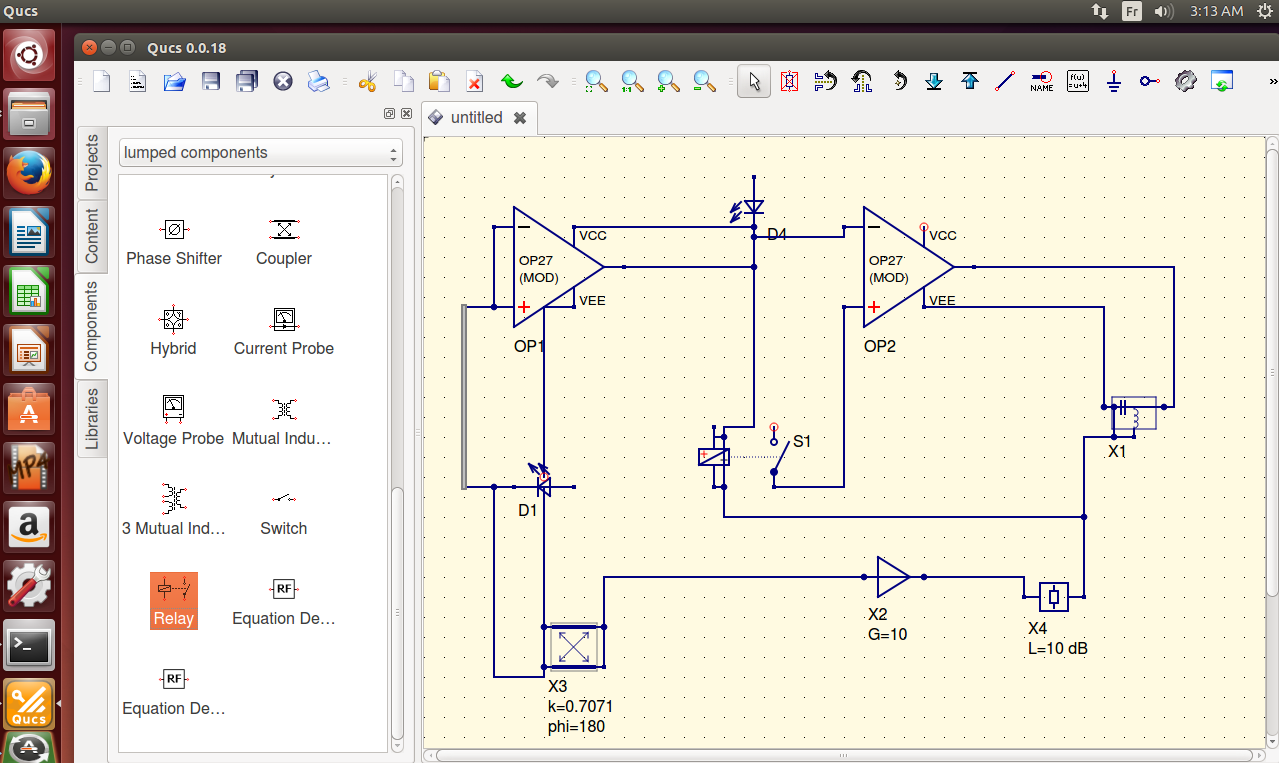 The GUI also allows to set up schematics simulation with support of various  types of diagrams. Here are some features of QUCS: